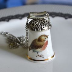 Recycled Porcelain Thimble Necklace - Put a Bird on it