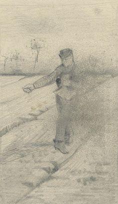Sower Etten, September 1881 Vincent van Gogh - pencil on paper, Van Gogh Drawings, Van Gogh Paintings, Van Gogh Art, Art Van, Vincent Willem Van Gogh, Van Gogh Museum, Famous Art, Dutch Artists, Impressionist