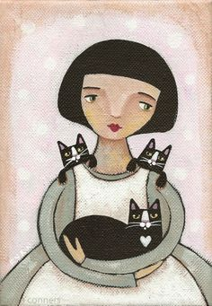 """Girl with Cats"" by Ryan Conners - the clean lines, the peaceful and contented feeling this exudes."