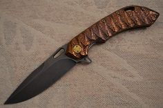 Olamic Cutlery Wayfarer 247 Sculpted Molten Titanium Hybrid, Anodized Handle, PVD Blade