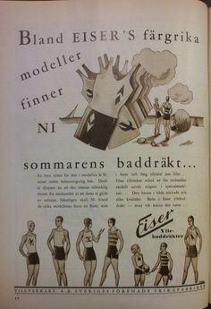 An ad from Eiser for wool jersey swimsuits. 1931