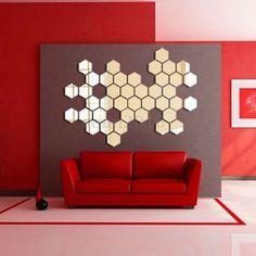 Modern Hexagonal Silver Acrylic 12pcs 3D Mirror Wall Decal Decor Art Sticker DIY