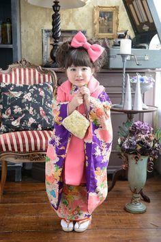 3-73あんり Yukata Kimono, Kimono Japan, Japanese Kimono, Pretty Kids, Cool Kids, Japanese Kids, Cute Kids Photography, Oriental Dress, Japanese Costume