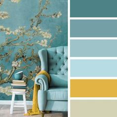 14 ways to bright your home up with yellow mustard color , Teal + blue and mustard color palette #mustard #color #colorscheme