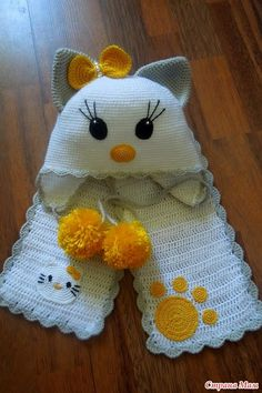 Crochet Cat Scarf Baby Hats New Ideas Knitted Hats Kids, Knitting For Kids, Kids Hats, Baby Knitting, Knitting Toys, Knitting Projects, Crochet Baby Clothes, Crochet Baby Hats, Crochet Beanie