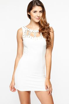 Studded Caged White Body Con Dress @ Cicihot sexy dresses,sexy dress,prom dress,summer dress,spring dress,prom gowns,teens dresses,sexy party wear,women's cocktail dresses,ball dresses