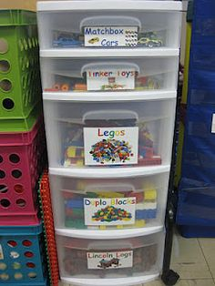 I have done bins like this in the past to show kids where things belong and how they learn to independently clean up their space.
