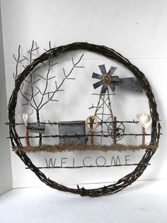 Barb Wire Wreath Western Theme Welcome Signal by MustangRescue, $one hundred forty five.00