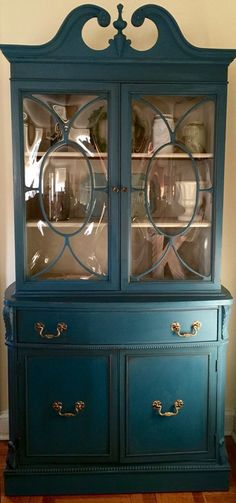 "Vintage 1940's China Cabinet Hand Painted Pick Up Only by ColorfulHomeDesigns on Etsy 77""h x 37""w x 16.5""d $495 https://www.etsy.com/listing/271142502/vintage-1940s-china-cabinet-hand-painted"