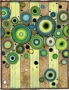 "Dots again!  (I'm weak in the knees!)  What gorgeous stitching is used here... (free motion?)  As seen on Flickriver - ""Concentric Circles by Kirsten's Fabric Art"""