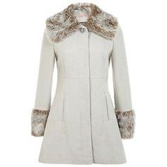 Buy Miss Selfridge Peter Pan Faux Fur Coat, Taupe Online at johnlewis.com