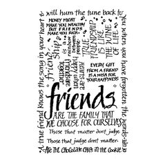 Crafty Individuals CI-052 - 'Friends Calligraphy' Art Rubber Stamp, 55mm x 85mm - Crafty Individuals from Crafty Individuals UK