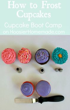 How to Frost Cupcakes on Cupcake Boot Camp :: Video & Instructions on HoosierHomemade.com