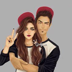 Imagen de girly_m, couple, and art Girly Drawings, Couple Drawings, Anime Couples, Cute Couples, Couples Images, Girly M Instagram, Sarra Art, Photo Manga, Chica Cool