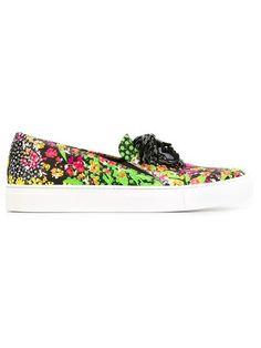 VERSACE Medusa Floral Slip-On Sneakers. #versace #shoes #sneakers