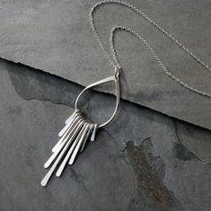 Falling Rain Sterling Silver Necklace Fringe Pendant by KiraFerrer