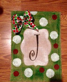 Traditonal Christmas Green background with Red White Polka Dot Monogramed Burlap Garden Flag on Etsy, $20.00