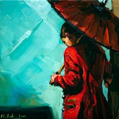 """Red coat"" - Original Fine Art for Sale - © Edward B. Gordon"