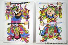 Door Gods 門神 - Painting - Acrylic on canvas.  Size: 37.5cm x 52cm each. The Door Gods are the guarding portal of most Chinese homes in ancient times. People sticks the Door God statues on the doors expel ghost and bad spirit from entering their home. They bring secure and peace to the households.