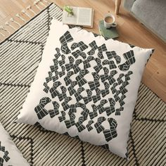 Promote   Redbubble Pattern Print, Print Patterns, Floor Pillows, Throw Pillows, White Patterns, Cushions, Flooring, Black And White, Abstract