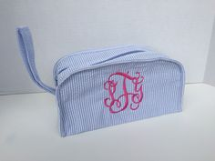 Monogrammed Seersucker Spa Cosmetic Bag at Mayfair Monogram!