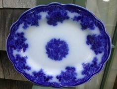 new wharf pottery flow blue | Antique Flow Blue Platter Waldorf New Wharf Pottery - The Vintage ...