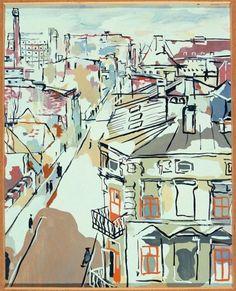 Łódź Landscape, 1932 - Wladyslaw Strzeminski Art Database, Urban Sketching, Built Environment, Illustrations, Cubism, Abstract Art, Abstract Paintings, Modern Art, Google