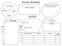 The Story Buddy- A two page graphic organizer that includes all major comprehension strategies: fact and opinion, main idea and details, summarizing, cause and effect, sequencing, genre, making predictions, making connections, and more.
