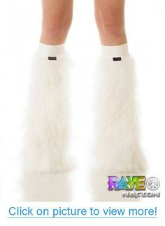 White Fluffy Leg Warmers with White Kneeband - Rave Costume Fluffies