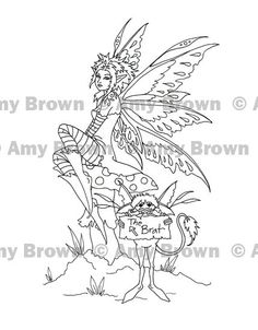 amy brown coloring pages   ... to Digital Download Brat Fairy Art by Amy Brown Coloring Print on Etsy