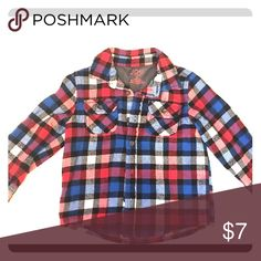 Joe Fresh Plaid Flannel button up shirt Blue, red, & white plaid flannel button up shirt. Excellent used condition. Can definitely be worn by boy or girl.  Size 3T. Shirts & Tops Button Down Shirts