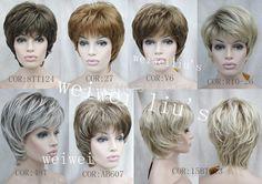 Unqiue 짧은 계층화 짧은 합성 머리 가발 많은 색상 선택 무료 배송