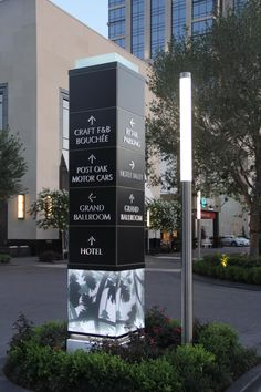 Experiential Graphic Design in Hospitality - The Post Oak Landry's 1600 West Loop Hotel At Uptown Houston, Texas. Pylon Signage, Monument Signage, Hotel Signage, Entrance Signage, Exterior Signage, Wayfinding Signage, Signage Design, Environmental Graphics, Environmental Design