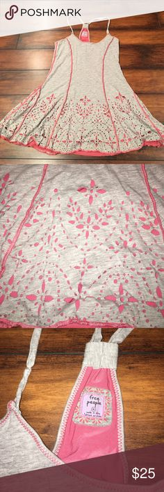 Free People Size Medium Racerback Dress Excellent condition. So cute and perfect for spring and summer. Nothing wrong with it at all. Very short as a dress. Could be paired with Leggins or jeans and worn like a Tunic length. Free People Dresses Mini