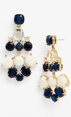 navy, cream and gold kate spade new york chandelier earrings Cute Jewelry, Jewelry Box, Jewelry Accessories, Fashion Accessories, Fashion Jewelry, Women's Fashion, Bling Bling, Diamond Are A Girls Best Friend, Glamour