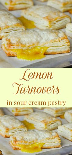 Lemon Turnovers in Sour Cream Pastry. Lemon Turnovers in Sour Cream Pastry. Tart homemade lemon curd in a light flakey shortcut pastry recipe. Lemon Desserts, Lemon Recipes, Just Desserts, Delicious Desserts, Yummy Food, Lemon Cakes, Mini Desserts, Summer Desserts, Cupcakes