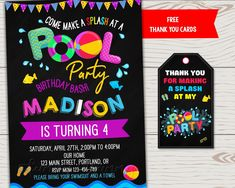 Pool party birthday invitation Waterslide invitation Pool party invitation Summer party invite First birthday invite Kids pool invitation - Modern Pool Party Birthday Invitations, Unicorn Invitations, First Birthday Parties, First Birthdays, Free Thank You Cards, Cowboy Birthday, Kid Pool, Personalized Invitations, Invite