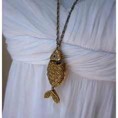 Vintage Fish Locket Necklace with Solid Perfume by PurplePangolin, $46.00