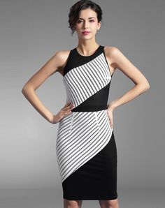 Stripe Printed Sleeveless Contrast Midi Bodycon Dress. VIPme.com offers high-quality Day Dresses at affordable price.