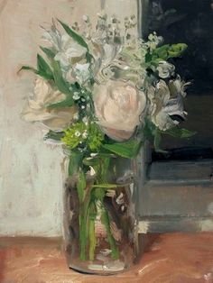 """""""White Bouquet and Window at Night 4/30/2014"""" by Duane Keiser"""
