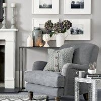 Warm lightgrey living room with cosy armchair and knitted cushion Ideal Home is part of Blue room decor After living room ideas Take a look at this smart grey space with cosy touches for inspirat - Living Room Grey, Home Living Room, Living Room Designs, Living Room Decor, Cosy Living Room Warm, Grey Living Room Furniture, Blue Room Decor, Blue Rooms, Living Room Inspiration