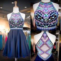 Sexy Homecoming Dresses 2015 Navy Chiffon Sweet 16 Dresses Real Images Halter Neck Colorful Beaded Sequins Crystals Cheap Homecoming Gowns With Illusion Back Plus Size Homecoming Dresses Cheap From Uniquebridalboutique, $147.43| Dhgate.Com