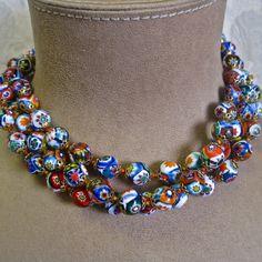 Millefiore Bead Necklace Venetian Murano Rare by MyWanderingEye