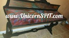 Antique sofa table Natural aged base Top done in Unicorn SPiT