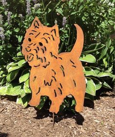 """West Highland Terrier Garden Stake or Wall Hanging. This handcrafted West Highland Terrier Garden Stake or Wall Hanging will become a decorative favorite. A charming way to add some fun to your home or garden decor. Approximately 17"""" diameter. Only rustic and black colors are in stock, all other colors are made to order. The rustic patina varies on each piece. Looking for different styles? Check out our West Highland Terrier Plant Stake & Christmas Ornament by following the link provided:..."""