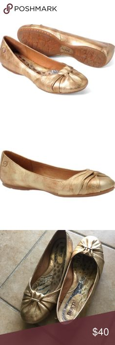 Gold Leather Flats Originally purchased for a wedding, but ended up not using these. In great shape. All genuine leather. Size 8.5. Style name is Lily. This style is sold at Macy's for $90. Sold out color (gold / copper) Born Shoes Flats & Loafers