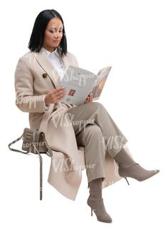 cut out woman in a long beige overcoat sitting and reading