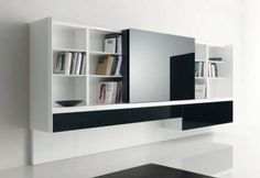 Are you doing a living room renovation and you are not sure what to do with you tv? Here are 10 design for your living room interior with beautiful modern TV wall units and wall mounts. Living Room Tv Unit, My Living Room, Living Room Interior, Living Area, Modern Tv Wall Units, Modern Bookshelf, Home Furniture, Furniture Design, Space Furniture