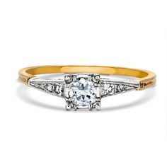 $695 Vintage Two Tone Diamond Engagement Ring