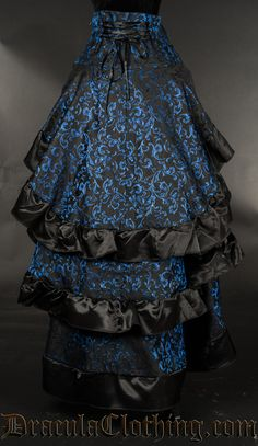 Blue Brocade Layer Bustle Skirt